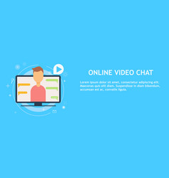 online video chat with man vector image vector image