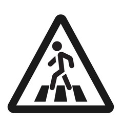 Pedestrian crossing and crosswalk sign line icon vector