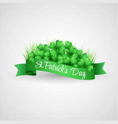 saint patrick day banner with clover and coins vector image