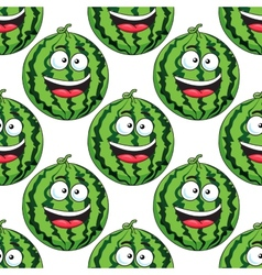 Seamless pattern of a laughing watermelon vector image vector image