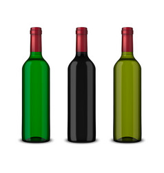 set 3 realistic bottles of wine without vector image
