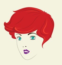 Short curly hair woman hair style vector