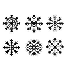 Snowflakes black isolated on white background vector image vector image
