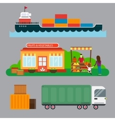 Street seller with stall fruits and ship cargo sea vector
