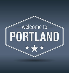Welcome to portland hexagonal white vintage label vector