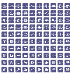 100 help desk icons set grunge sapphire vector image vector image