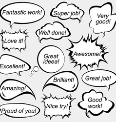 Speech bubbles with positive feedback messages vector