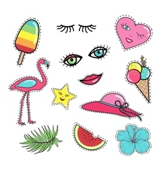 Set of fashion patch badges stickers 80s-90s style vector