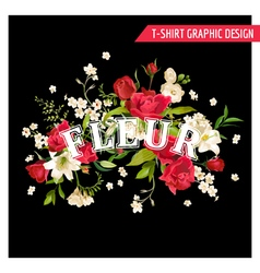 Floral rose and lily graphic design for t-shirt vector