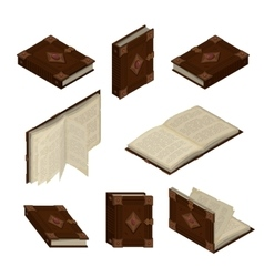 Set of old isometric books vector