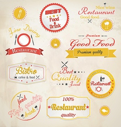 Retro styled restaurant labels vector