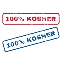 100 percent kosher rubber stamps vector