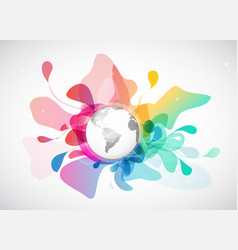 Abstract colored background with polygonal globe vector