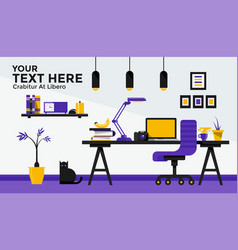 Flat design banner of work place vector