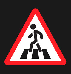 Pedestrian crossing and crosswalk sign flat icon vector