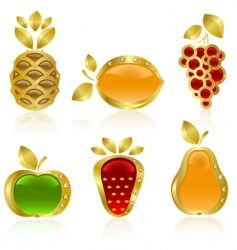 set of golden fruit vector image