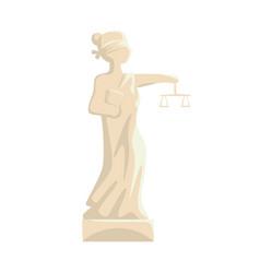 themis femida statue lady of justice cartoon vector image