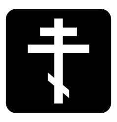Religious orthodox cross button vector
