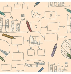 Business doodle sketch seamless pattern vector image