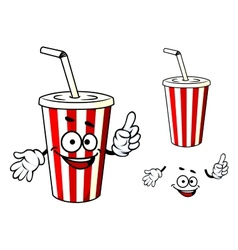 Stripe soda or juice cup with happy face and vector
