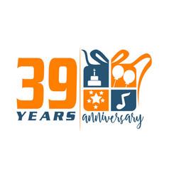 39 year gift box ribbon anniversa vector