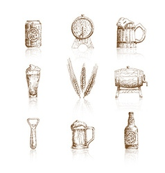 Sketch beer icons vector