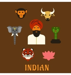 Indian animals and national symbols vector