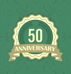 50th anniversary label on a green ornament vector image