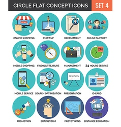 Circle colorful concept icons flat design set 4 vector