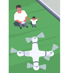 Father and son flying drone vector