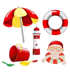 Beach set in red tone vector