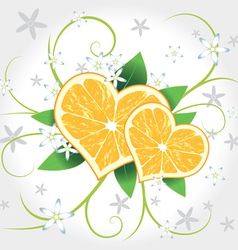 Lemon hearts with swirl vector