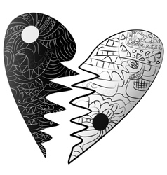 Black and white broken heart drawn zentangle style vector