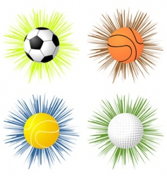 Sport balls over starburst vector