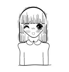 Anime cute beautiful woman vector
