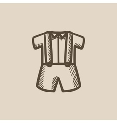 Baby shirt and shorts with suspenders sketch icon vector image vector image