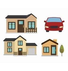 Beautiful mansion and car isolated icon design vector