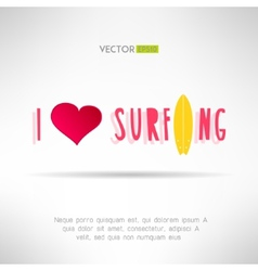 Bright colorful surfing tshirt print Love heart vector image vector image