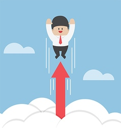 Businessman flying up through the clouds with grow vector image