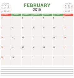 Calendar Planner 2016 Flat Design Template vector image