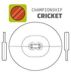Cricket Flat color icon sports ball and field vector image