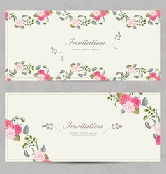 cute floral invitation cards with lovely roses for vector image vector image