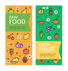 Fresh fruit raw food flyer banner posters card set vector