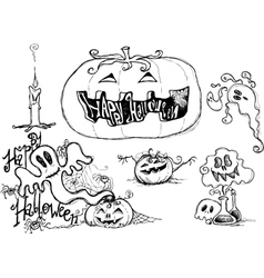 Halloween black sketched graphic elements vector