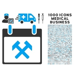 Hammers calendar day icon with 1000 medical vector