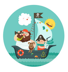 Happy dad and son sailing at their pirate ship vector
