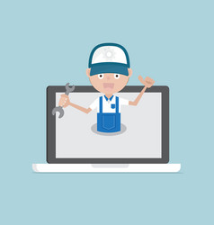 man holding wrench on laptop system maintenance vector image