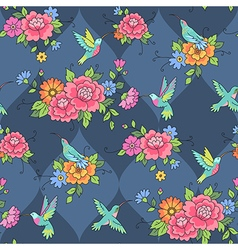pattern colibri blue vector image vector image