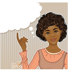 Pretty African American girl at the speech bubble vector image