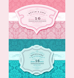 Retro wedding card set vector